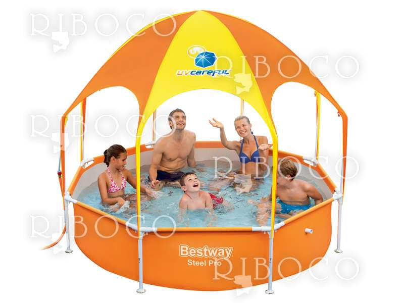 Bestway 56432 Steel Pro d 244 cm x 51 cm Splash-in-shade Play Pool, Orange/Yellow