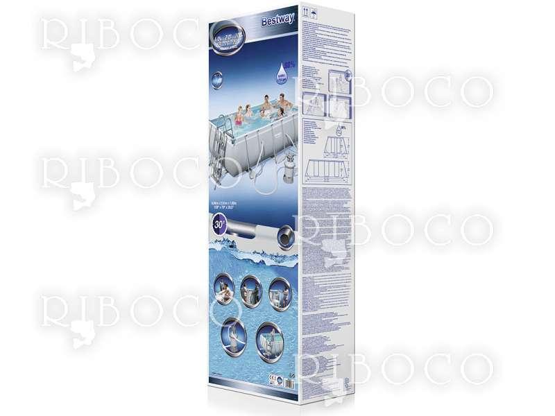 Bestway 56442 Power Steel Rectangular 404 cm x 201 cm x 100 cm, сиво / синьо 6478 L
