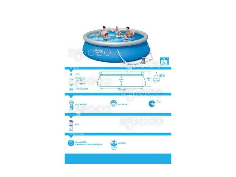 Надуваем басейн Bestway 57321 d 396 x 84 cm Fast Set Inflatable 7340 L Blue above