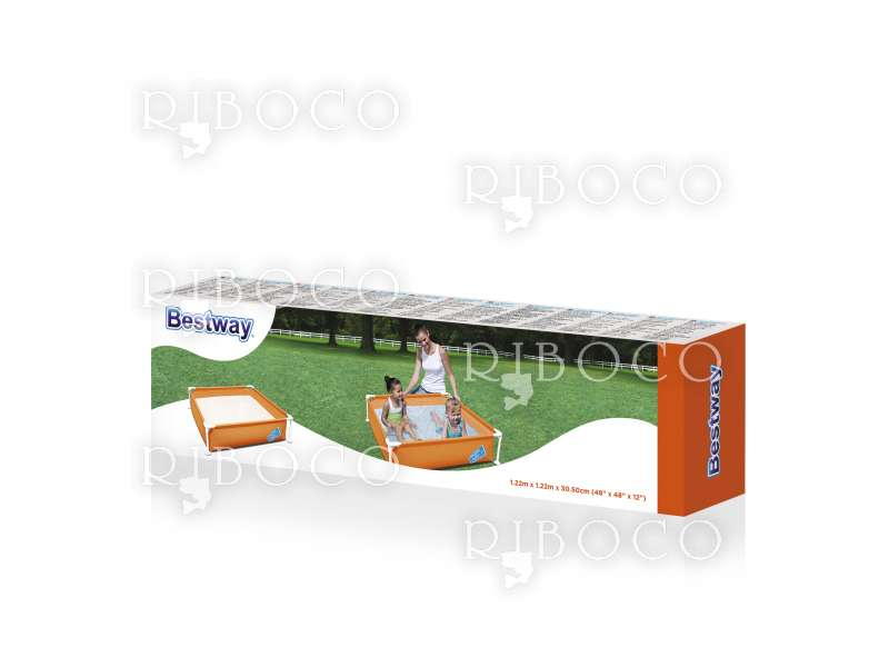 Сглобяем басейн Bestway 56217 122 cm x 122 cm x 30.5 cm Steel Pro My First Frame Pool
