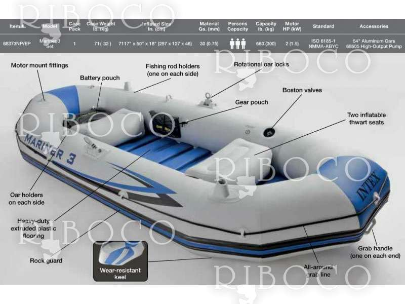 Intex Mariner 3 Inflatable Boat Set With Oars Riboco