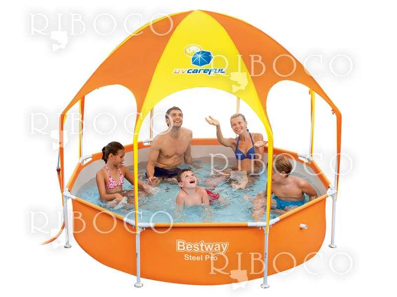 Bestway 56432 Steel Pro d 244 cm x 51 cm Splash-in-shade Play Pool, Orange/Yellow