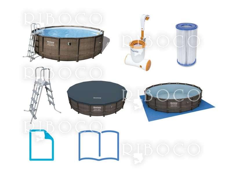 Сглобяем басейн Bestway 56664 d 427 cm x 107 cm Framed pool Round pool Brown /кафяв/ 13030 L